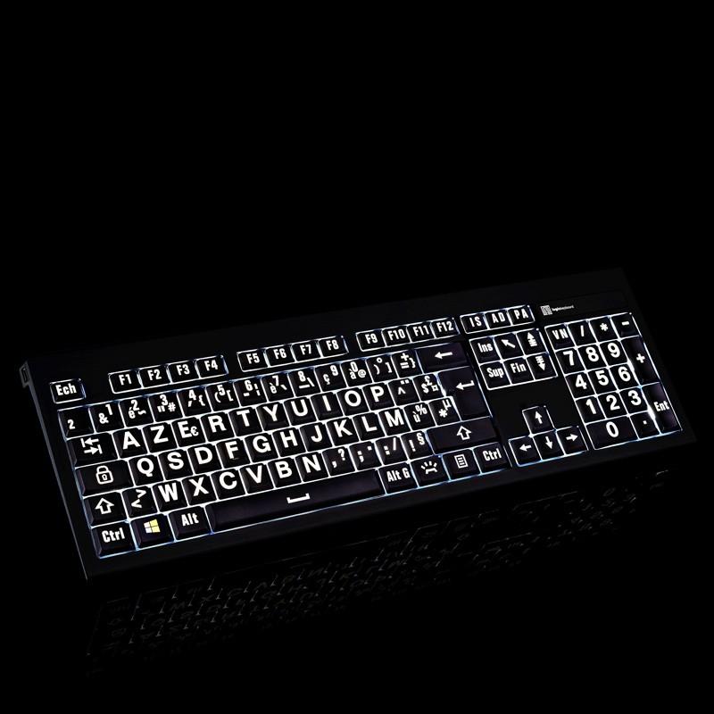 Clavier à grosses touches lumineux rétro-éclairé logikeyboard